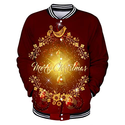 Aoogo Herren Christmas Sweatshirt Langarmshirt Pullover Fun 3D Print Party Langarm Baseballuniform mit Langen Ärmeln Herren Slim Fit Langarm Rundhals Shirt Longsleeve T-Shirt Sweatshirt