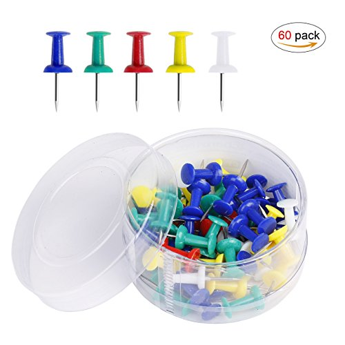Farbenreiche Push Pins coideal 60pcs Karte Nägel mit Edelstahl Point für Bulletin Board, Stoff Markieren, Bilder aufhängen bei Home Office Schule