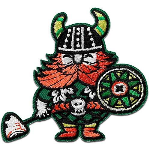 Parches - vikingo blindar hacha - verde - 6,3x7,4cm - termoadhesivos bordados aplique para ropa