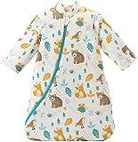 Missfly Baby Schlafsack mit abnehmbaren Ärmeln Winter Angedickte (L/Körpergröße 85-100cm, Tierwelt)