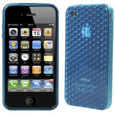 Logotrans Cubic Series Silikon Schutzhülle für Apple iPhone 4 transparent Blau