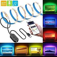 MINGER Musik Pro TV LED Streifen Lichter APP Kontrolle 2M für 40-60in TV RGB Hintergrundbeleuchtung Set mit Kontroller, Neon Bias Beleuchtung mit Multi Farben, IP65 Wasserdicht, USB Stromversorgung