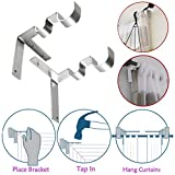 Komise 1 Paar Hang Curtain Rod Holders Rechts in den Fensterrahmen Curtain Rod Bracket (One Size, Silber)