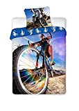 Sport Bettwäsche Biker/Downhill/Fahrrad, Wendebettwäsche 140x200 cm, Kissen 70x90 cm 100% Baumwolle