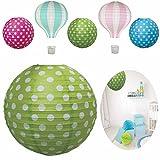 LS-Design Lampenschirm Papierlampe Lampion Japanballon Grün Weiss Punkte 50cm LS-LebenStil