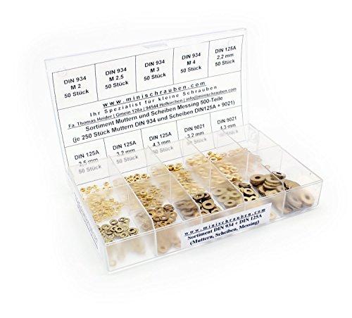 Sortimentskasten mit 500 Stück kleinen Scheiben und Muttern nach DIN 934, DIN 125A und DIN 9021 aus Messing. Minischrauben Sortiment inkl. beschrifteter Box (Sortiment Messing)