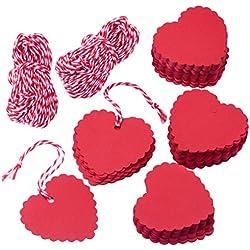 zealor 200piezas papel Kraft etiquetas de regalo con forma de corazón diseño con cadena para bodas
