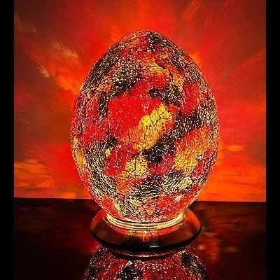 Mosaic Egg Lamp, Glass, Purple/Red, Medium