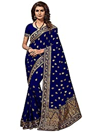 Ruchika Fashion Georgette Saree With Blouse Piece(V-Green_Green Free Size)