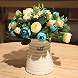 LLPXCC künstliche Blume Kreativ Home floral Esstisch ein Wohnzimmer eine moderne einfache Europäischen dekorative Blumen Camellia Keramikvasen Topfpflanzen Indoor blau