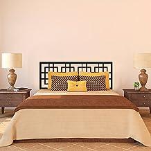 """Cabecero de cama adhesivo decorativo para pared de cuadrados de cabecero de cama cabecero de vinilo Decor adhesivo de pared Simple cabecero gráfico abstracto habitación Art Decor, vinilo, negro, 23""""hx60""""w"""