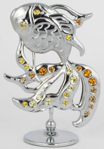 Koi Karpfen Fisch Figur Statur mit Kristall Glas Made with Swarovski Elements (Silberfarben)
