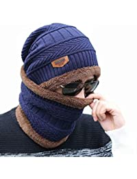 Alexvyan Imported 1 Set Snow Proof (Inside Fur) Unisex Woolen Beanie Cap with Scarf for Men Women Girl Boy Warm and Soft