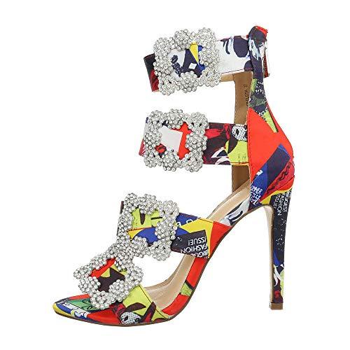 Ital-Design Damenschuhe Sandalen & Sandaletten High Heel Sandaletten Canvas Rot Multi Gr. 39 - Canvas-high-heel-sandalen