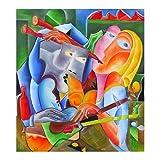 "Pintura Lienzo al Óleo Arte Abstracto Moderno ""CANCION EN DOS"" por DOBOS, Cuadro Original para..."