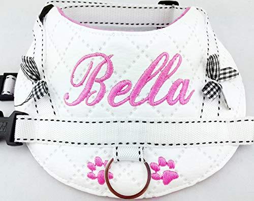 Hundegeschirr S M L XL XXL Brustgeschirr mit Wunsch Namen bestickt Kunstleder weiß rosa für kleine, mittlere und große Hunde (Mittlere Kleine Hundehalsband Und)