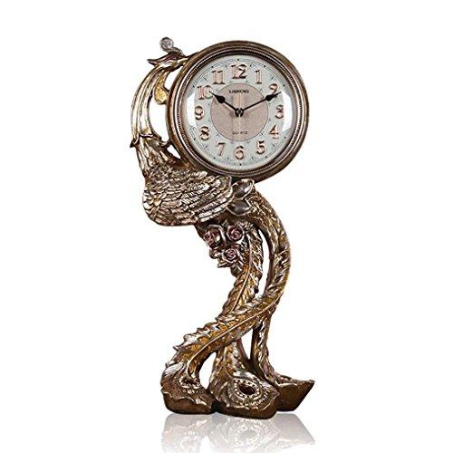 GZ Tischuhr europäischen Phoenix Uhr Schlafzimmer Uhr Nacht Pendulum Uhr Wohnzimmer Retro Tischuhr,AAA