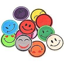 12 parches termoadhesivos emoticonos colores bordados para ropa, scrapbooking, costura..