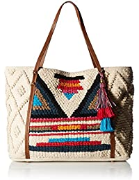 Steve Madden Bali Bohemian Tasseled Woven Patterned Fabric Tote, Beach Bag