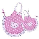 Homgaty Küchenschürze mit Prinzessinnen-Schleife und Tasche, für Frauen und Kinder, zum Backen / Kochen, für Malerei / Party, 2-lagiger Stoff, Eltern-Kind-Set