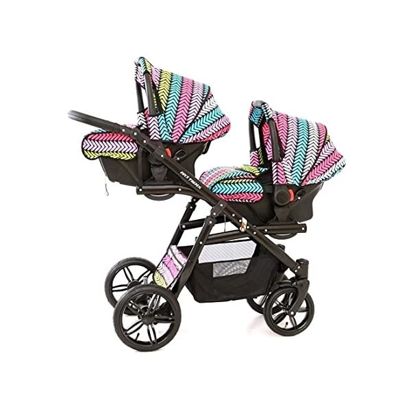Double pram for twins. 2 carrycots + 2 buggies + 2 car seats. Multicolour. BBtwin Berber Carlo Directly from the factory, warranty and advice. Made un the EU according to the regulations EN1888 and ECE44/04. Multicolour. Includes 2 carrycots, 2 buggy seats, 2 car seats, bag, 2 footcovers, 2 rain covers, 2 mosquito nets, lower basket. Features: lightweight aluminium frame, easy bending, adjustable handlebar, central brake, lockable front swivel wheels, shock absorbers, each buggy can be instaled independently in both directions, carrycots with a mattress and a washable cover, backrest adjustable in various positions, safety bar and harness of 5 points 3