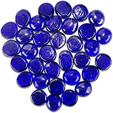 Maalavya 54 Pieces Crystalline and Translucent Shaded Glass Stone for Decorative Aquarium Fish Tank and Substrate Glass Stone Or Pebbles.(Translucent Blue Glass Shade)