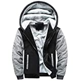 WWricotta Mens Hoodie Winter Warm Fleece Zipper Sweater Jacket Outwear Coat Tops Blouses(Schwarz,XXXXXL)
