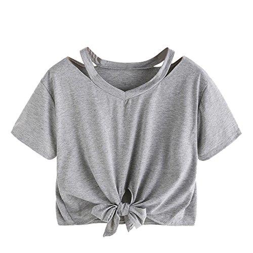 Oberteile Frauen Sommer, Ulanda Teenager Mädchen Mode Crop Top Sport Bauchfrei Shirt Bluse Damen Casual Rose Stickerei Kurzarm Gestreift T-Shirts Hemd Tops Pullover Sale