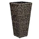 Vanage Vaso da Fiori Grande per Esterno o Interno in Plastica Resistente adatto a Giardino, Balcone o Salotto - 28 x 28 x 60 cm - Nero