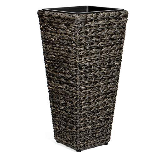 Vanage Kunststoff Pflanzkübel in schwarz - Blumenkübel für drinnen und draußen - Blumentopf für Blumen und Pflanzen - Pflanzenkübel perfekt für Garten, Terrasse und Balkon geeignet