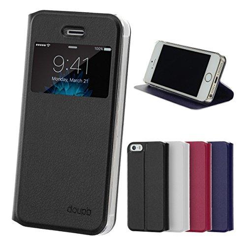 iPhone SE / 5S / 5 Flip Hülle, doupi FlipCover mit Sichtfenster Deluxe Magnet Schutzhülle Book Style Ständer Case, schwarz (Iphone 5c Flip Cover Mit Fenster)
