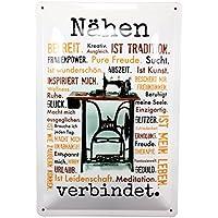 Nähen verbindet. Blechschild Metall Schild 20x30 Nähmaschine AnneSvea Sewing Handmade Deko für Nähzimmer