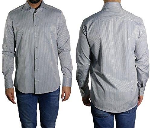 Schattenstreifen Herren Hemd Klassisch MUGA Grau