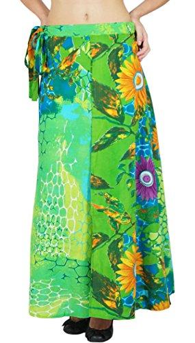 Einzelne Schicht Neues Kleid Baumwollblumen Gedruckt Phagun Wickelrock Lang Sarong (Wrap-around-rock-muster)