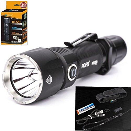 rofis-kr20-dual-switch-1100lm-ipx-8-waterproof-led-flashlight-cree-xp-l-hi-v3-led-beam-rech-1103-ft-