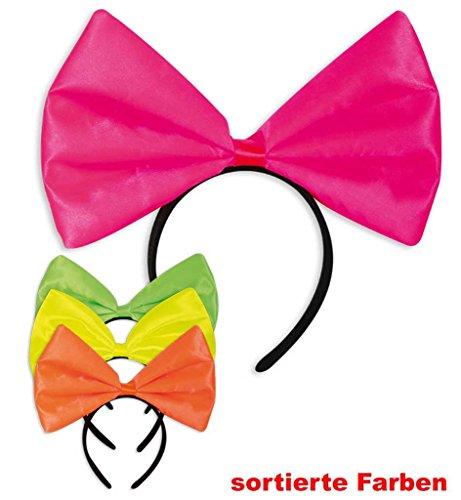 Haarreif mit Schleife-Neon verschiedene Neon-Farben Karneval Fasching Fastnacht Mottoparty 80er...