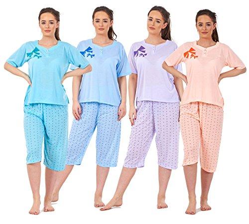 Bay eCom UK Ladies Pyjama Set 3/4 Length Bow Print Short Sleeve V Neck Cotton Soft Nightwear
