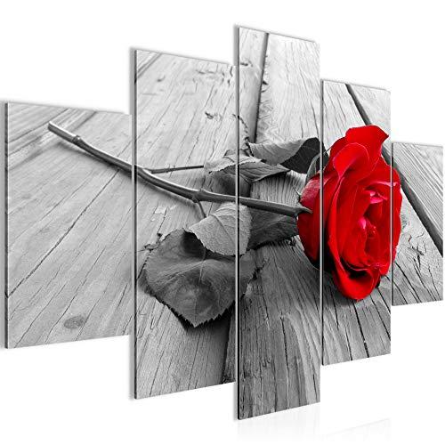 Bilder Blumen Rose Wandbild 150 x 100 cm Vlies - Leinwand Bild XXL Format Wandbilder Wohnzimmer Wohnung Deko Kunstdrucke Rot 5 Teilig - Made IN Germany - Fertig zum Aufhängen 204453a