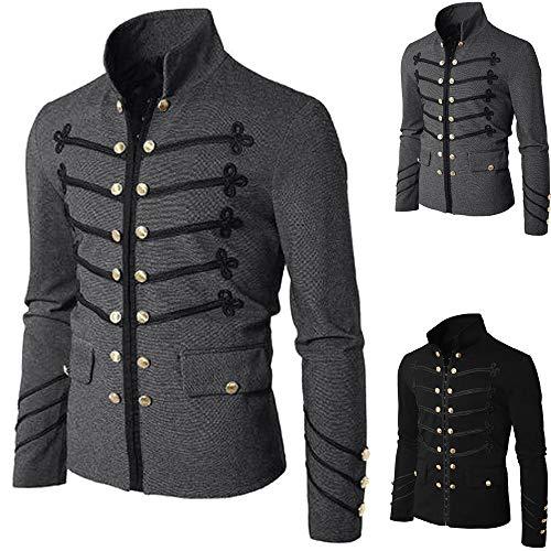 QinMM Männer Mantel Jacke Gothic Sticken Knopf Mantel Uniform Kostüm Praty Outwear Gericht Stil Steampunk Jacke S-XXXXXL (Tuxedo Jacke Kostüm)