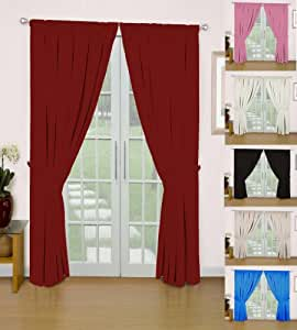 """Eclipsee Mid Blue 90"""" w X 54"""" d Semi Blackout Dimout Thermal Curtains With Matching Tiebacks- Choice Of 9 Sizes And 6 Colours"""