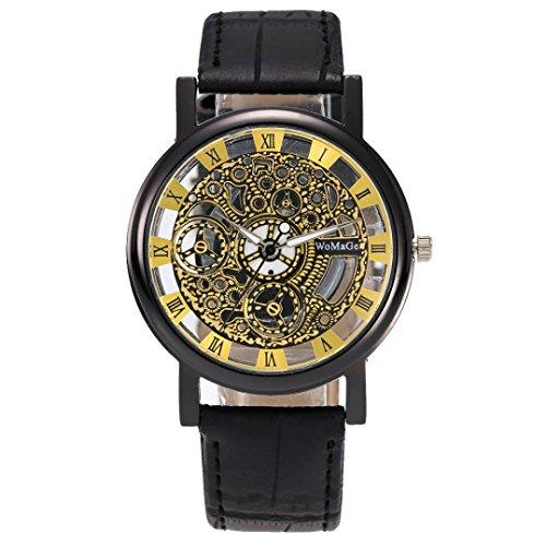 Montres, Malloom Hommes Quartz creux de luxe Montre bracelet en cuir à bracelet militaire (A)