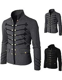 99abf65142b2 QinMM Männer Mantel Jacke Gothic Sticken Knopf Mantel Uniform Kostüm Praty  Outwear Gericht Stil Steampunk Jacke…