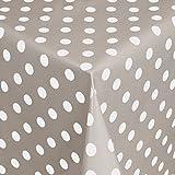 Wachstuch Tischdecke Gartentischdecke mit Fleecerücken Gartentischdecke, Pflegeleicht Schmutzabweisend Abwaschbar Punkte Grau Weiss 220x 140 cm - Größe wählbar