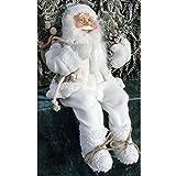 JEMIDI Weihnachtsmann Nikolaus Sitzend Deko 30cm Nikolaus Kantenhocker Figur Groß Weihnachts Deko (Santa mit Laterne 30cm)