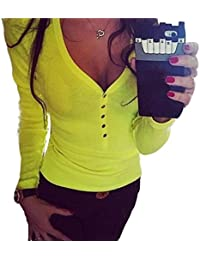 Femmes Sexy V Cou,OverDose Bouton T-Shirt à Manches Longues De Punk Tops En Coton Blouse