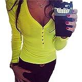 Femmes Sexy V Cou,OverDose Bouton T-Shirt à Manches Longues De ...