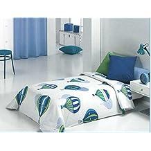 Reig Martí Balloon - Juego de funda nórdica estampada, 3 piezas, para cama de 90 cm, color azul