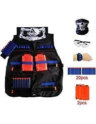 Locisne Kids Jungle Camouflage Tactical Vest Jacket Kit pour Nerf Toy Gun N-Strike Elite Series (avec 20pcs dards en mousse + Lunettes de protection Lunettes + Masque de crâne sans couture + 2Pcs 6-dart Quick Reload Clip + 1Pcs 8-dart poignet)
