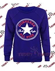 Generic - Sweat Shirt Femme Fille Design Converse All Star Noir