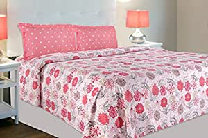 haus & kinder Tropical Floral Bloom, 100% Cotton Double Bedsheet with 2 Pillow Covers, 186 TC (Red & Pink)